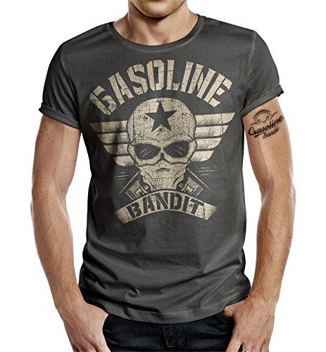 Körperbetontes Slimfit Biker Racer T-Shirt im Used Vintage Look: Wing Logo Big Size Print XXXL -
