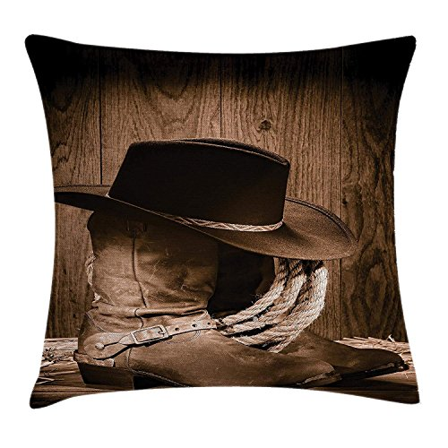 FPDecor Western Decor Kissenbezug, Wild West Themed Cowboy Hat and Old Ranching Rope On Wooden Display Rodeo Style, Decorative Square Accent Pillow Case, 18 X 18 Inches, Brown