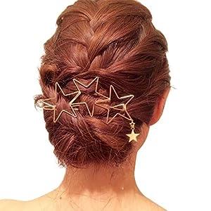 Dayiss Damen Haarspange Mit Stern Haarklammer Haarclip Haarklemme Spange Hair Barrette in Gold