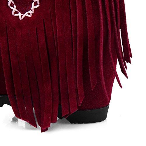 AgooLar Femme Haut Bas Houppe Tire Rond à Talon Haut Bottes avec Houppe Rouge