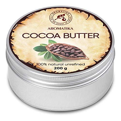 Manteca de Cacao 200g - Burkina Faso - 100% Puro & Natural - Manteca de Semilla de Theobroma Cacao - Grandes Beneficios para la Piel - Cabello - Rostro - Cuerpo - Cuidado de los Labios - Cocoa Butter