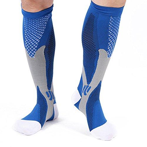 Kompressions-Socken für Männer & Frauen aoyu beste Strümpfe für Laufen, Krankenschwestern, Schienbeinschienen, Flugreisen & Mutterschaft Schwangerschaft. Boost Ausdauer, Zirkulation & Recovery (blau, XXL)