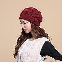 FQG*L'inverno hat signore di mezza età maglia hat marea calda doppia maglia di lana angora cappelli cuscinetti , rosso