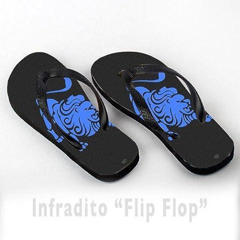 Infradito FlipFlop Personalizzate Leone Segno Zodiacale Blu Zodiaco