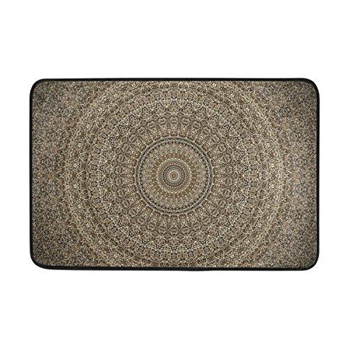 Ahomy Wihve Datura Mandala-Teppich, Fußmatte, saugfähig, rutschfest, weich, für Wohnzimmer, Schlafzimmer, Küche, 60 x 40 cm