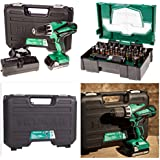 HITACHI 18V CORDLESS LITHIUM COMBI DRILL DV18DGL WITH 32 PIECE COLOUR CODED HITACHI SCREWDRIVER SET COMPLETE KIT