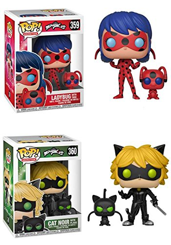 FunkoPOP Miraculous: Miraculous Ladybug with Tikki + Cat Noir with Plagg - NEW