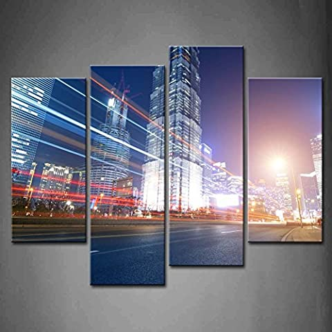 4panneaux Art mural The Light Trails sur le fond de