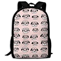 TRFashion Pugs Pattern Backpack Waterproof Casual Daypack Fashion Travel Laptop Schoolbag Hiking Customized Backpack Daypack for Men Women