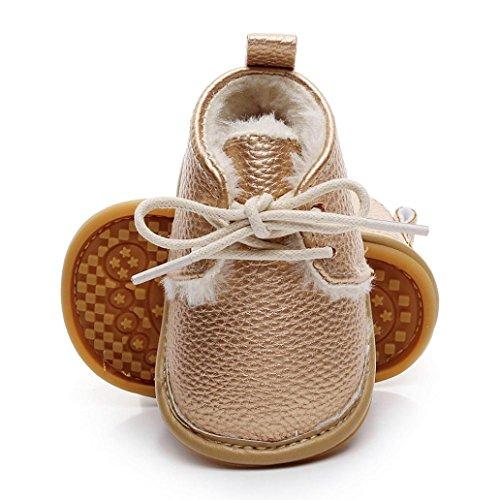 Janly Boy Girl Mokassins Krippe Schuhe 0-2 Jahre Baby PU Erste Wanderer Newborn Rutschfeste Schuhe (12-18 Monate, Gold) (Mesh-bootie)