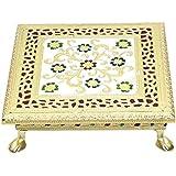 Meenakari puja bajot/Table/chowki ganpati sinhasan (Hindu Pooja, Indian Religious chaurang)- 8x8