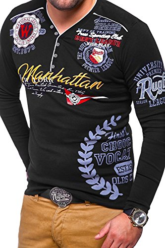 MT Styles V-Neck Longsleeve MANHATTAN T-Shirt MV-473 Schwarz
