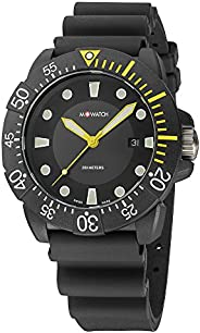 M-WATCH Swiss Made Aqua Men's Watch, Luminous Hands, Date Function and Bezel, Black Silicone Strap Water R