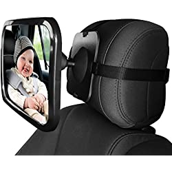 Home-neat Siège arrière miroir - vue arrière bébé Miroir de siège de voiture en bébé et maman - Large convexe en verre incassable et Entièrement assemblé - Crash testé et certifié pour la sécurité