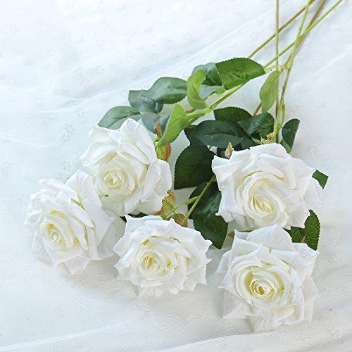 justoyou 10Stück Künstliche Blumen Fake Rose Blumen Hochzeit Bouquet Home Party Büro Shop Dekoration, Textil, weiß, 10 Stück (Weiße Rose Künstliche)