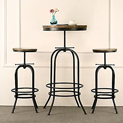 IKAYAA Bar Table Set Pub Bistro Table Chair Set Kitchen Dining Breakfast Coffee Table Set Adjustable Industrial Style Swivel Natural Pinewood
