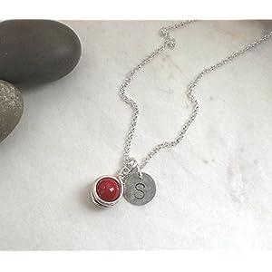 Buchstaben Kette Initiale Muschelkern rot 925 Silber, Halskette Perle + Scheibe Gravur