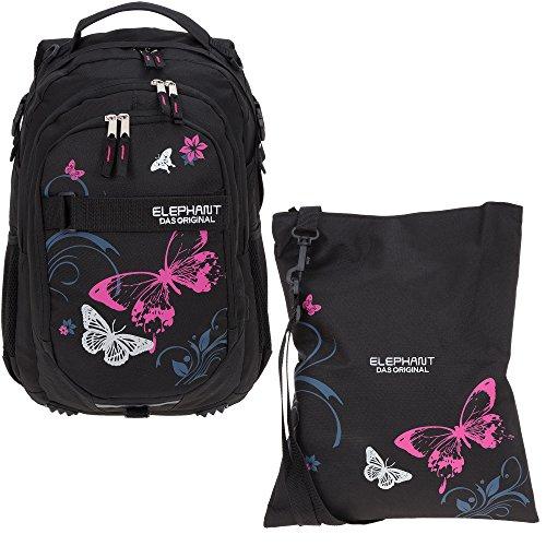 2 Teile Set ELEPHANT Schulrucksack Hero Signature Rucksack + Turnbeutel Attach Bag 12679 (Butterfly Black PINK)