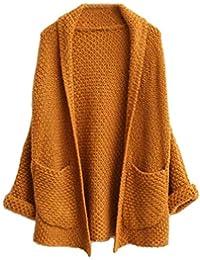 Cardigan Mujer Elegantes Moda Sweater Otoño con Bolsillos Color Sólido Manga Larga Anchos Casual Clásico Jerseys