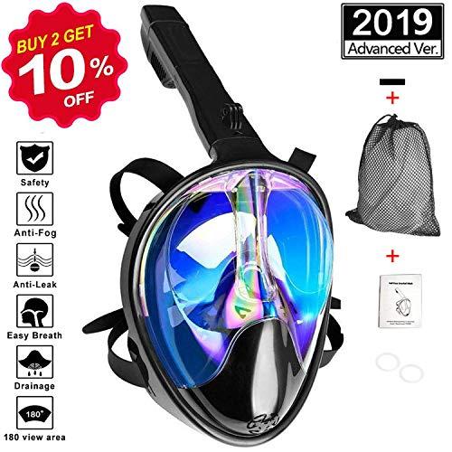VORRINC Schnorchelmaske Vollgesichtsmaske Tauchmaske mit 180° und Sichtfeld Tauchmaske Anti-Fog und Anti-Leck-Technologie (Blau schwarz, S/M)