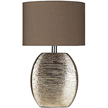 Modern textured metallic bronze effect ceramic table lamp with a fabric light shade complete with a minisun 4w led golfball light bulb 3000k warm white