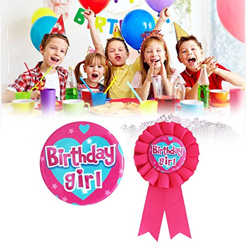 Birthday Girl Badge & Rosette Set for Kids children Adults Party