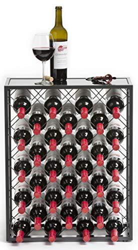 32 Flaschen Weinregal mit Glasplatte, Zinn / (MEHRWEG)