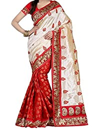 Harikrishnavilla Women's Bhagalpuri Silk Printed Saree With Blouse Piece - Silki Red_Beige And Red_Free Size