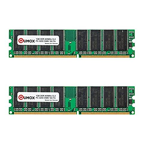 QUMOX 2Go (2X1Go) DDR DIMM (184 PIN) 400Mhz PC3200 CL 3.0 DESKTOP Mémoire