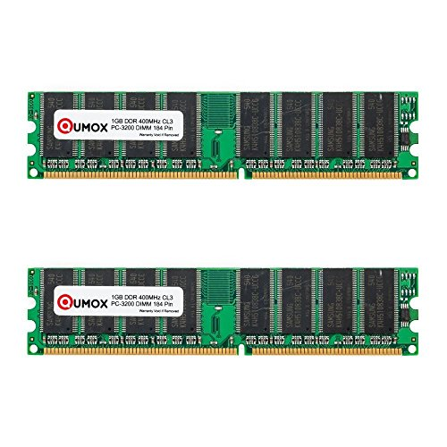 QUMOX 2Go (2X1Go) DDR DIMM (184 PIN) 400Mhz PC3200 CL 3.0 Desktop Mémoire