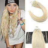 Ugeat 100g 1g/s Haarverlangerung Loop Microring Extensions Farbe #613 Bleach Blonde 20Zoll/50cm Hair Extensions Echthaar Microring