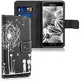 kwmobile Étui en cuir synthétique chic pour Samsung Galaxy A3 (2016) avec fonction support pratique. Design pissenlit amour en blanc noir