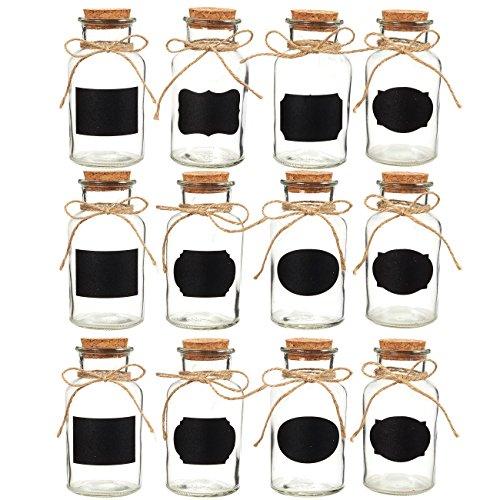 Juvale kleinen Glas Flaschen–Set 12Stück Glasflaschen mit Korkverschluss, kleine Glas Dekorative Flaschen ideal für DIY Basteln, Home und kleine Geschenke, 8,5Unzen (Projekte Seashell Handwerk)