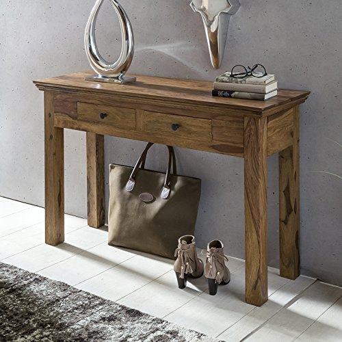 FineBuy Console Table Solid Wood Sheesham Console With 2 Drawers Desk 110 X  40 Cm Country Style Sideboard Modern Massive Dark Brown Real Wood Nature ...