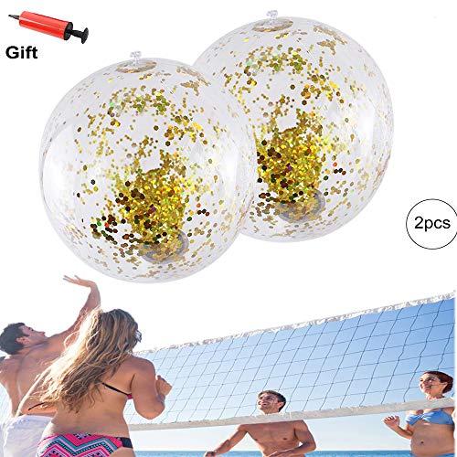 Ball, 2 Stück aufblasbare Wasserbälle 16 Zoll Pailletten Beach Ball mit aufblasbarer Pumpe, Schwimmen Spaß Wasserbälle für Kinder Erwachsene ()