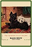 Black & White Scotch whisky westie scottie terrier hund weihnachten schild aus blech, metal sign, deko schild