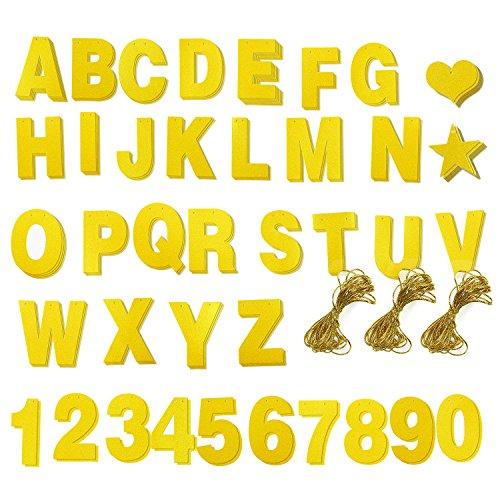 DIY Buchstabenbanner und Gold Glitzer Zahlen Set - Banner mit individuell anpassbaren Buchstaben für Abschiedsparty Dekoration, Hochzeitsparty Zubehör - inkl. 122 Stück und 3 Seilen zum Aufhängen