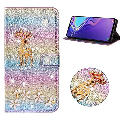 Miagon Hülle Glitzer für Samsung Galaxy A7 2018,Luxus Diamant Strass Hirsch PU Leder Handyhülle Ständer Funktion Schutzhülle Brieftasche Cover,Regenbogen Blau