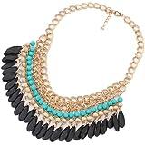 Bocideal Bohemian Hot Klassiker Stilvolle Layered Perlen Quaste Halsreif Bib Gold halskette
