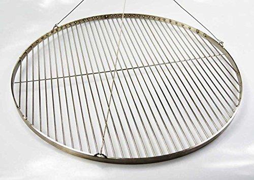 Edelstahl Grillrost 70 cm / nur ca. 15 mm Stababstand ! + 3 Edelstahl Seile Schwenkgrill , Qualitätsedelstahl V2A mit 3 Aufhänge-Ösen - stabile & schwere Ausführung Rund Grill Neu
