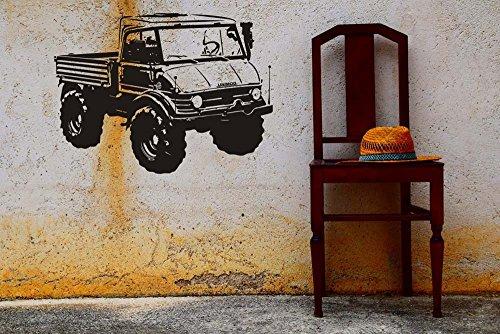 Wandtattoo Wandaufkleber UNIMOG LKW Nutzfahrzeug verschiedene Farben und Größen (820 mm x 600 mm, Schwarz)