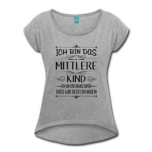 Spreadshirt Geschwister Regeln Witziger Spruch Mittleres Kind Frauen T-Shirt mit gerollten Ärmeln, M, Grau meliert (Sandwich-kinder T-shirt)