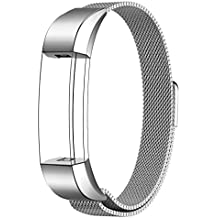 V.one Reemplazo SmartWatch Band de Reloj de Acero Inoxidable Milanese Bucle Hebilla Magnético de Cierre Pulsera Accesorios para Fitbit Alta / Alta HR Smart Fitness Tracker