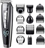 HATTEKER 5 In 1 Beard Trimmer Kit For Men Cordless Mustache Trimmer Hair Trimmer Groomer Kit Precision Trimmer