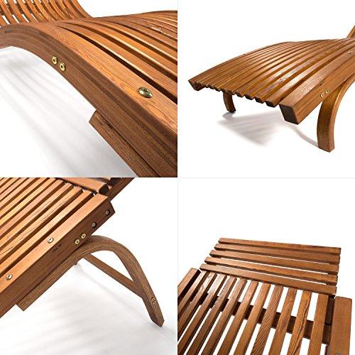 Sonnenliege Cannes   Gartenliege ergonomisch geschwungen   Relaxliege mit wählbarer Liegeposition   wetterfeste Gartenmöbel aus Holz - 3