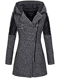 FNKDOR Manteaux à Capuche Femme d hiver Chaud Veste Zippé Col Revers  Blouson Épais Slim 28c4ace336c1
