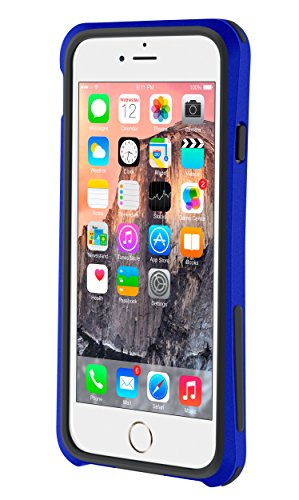 iPhone 6s Case, roocase iPhone 6 Bumper (Open Back Design) Ultra Slim Lightweight with Corner Edge Protection [Linear Bumper] Case Cover for Apple iPhone 6 / 6s (2015), Purple Linear (Dark Blue)