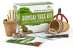 Idea Regalo - Kit Bonsai - Kit per crescere il tuo Albero Bonsai a partire dal seme - Regali originali per amanti giardinaggio e piantine - Set Regalo con 5 varietà di Alberi Bonsai - Con istruzioni