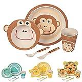 Kaufdichgruen Set vajilla infantil de bambú sin bpa 5 piezas I motivo Mono I Servicio de mesa cubertería para niños Tazón vaso de beber plato para niños I Reciclaje de material natural