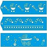 (Satz von 3) 28cm x 8cm Flexibel Kunststoff Universal Schablone - Wand Airbrush Möbel Textil Decor Dekorative Muster Design Kunst Handwerk Zeichenschablone Wandschablone - Kinderwagen Baby Säugling